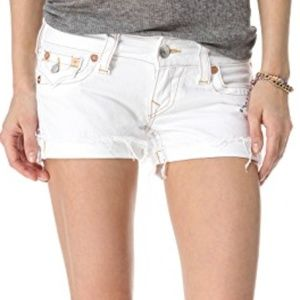 True Religion White Raw Hem Jean Shorts
